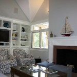family room fireplace and chairs
