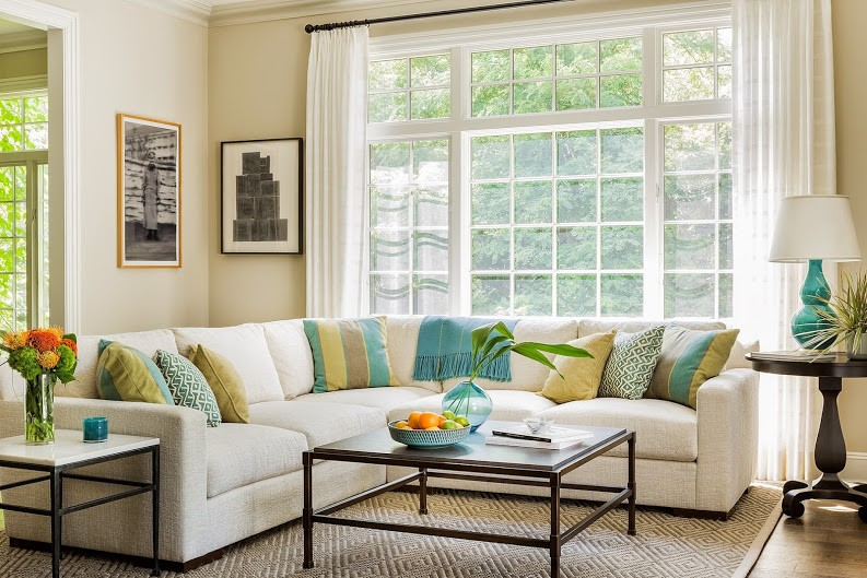 sun-filled living room redesign in Holliston MA
