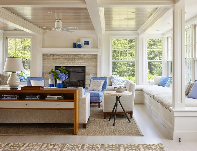 efficient yet welcoming living room design in Carlisle MA