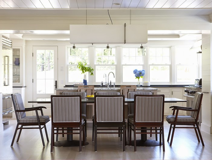 wide open dining space in new home in Beacon Hill MA